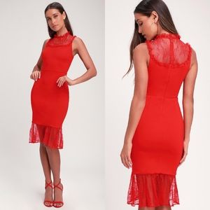 NEW Ali & Jay TWO TO TANGO RED LACE BODYCON DRESS